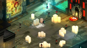 Red prepares herself for the surrounding Bad Cells. (Image credit to Supergiant Games, retrieved from their official Transistor page)