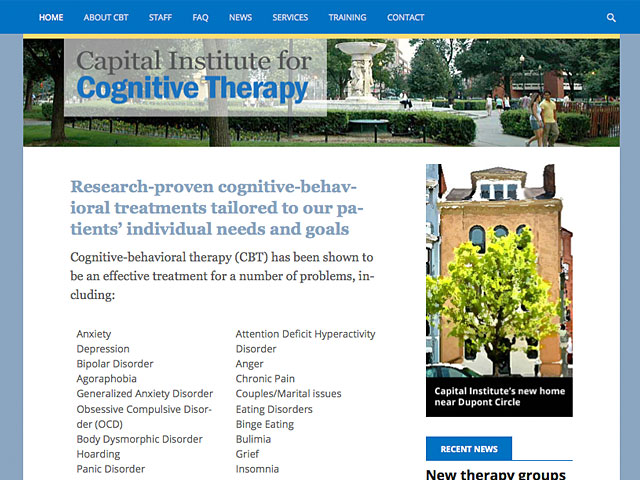 home page of cognitivetherapydc.com