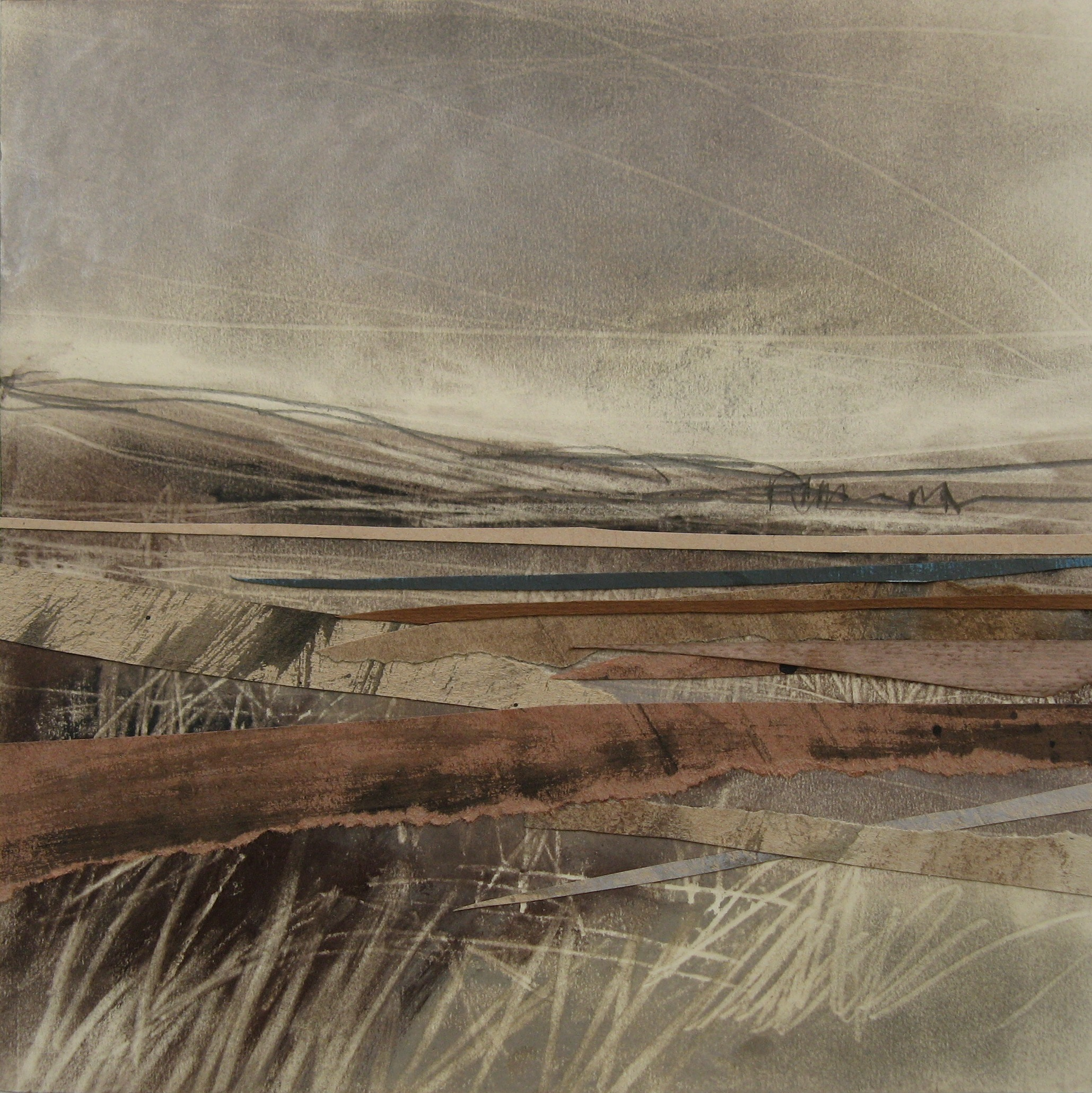First-Light-Over-Loch-Linnhe-Janine-Baldwin-acrylic-pastel-charcoal-and-graphite-collage-on-card-23-x-23cm