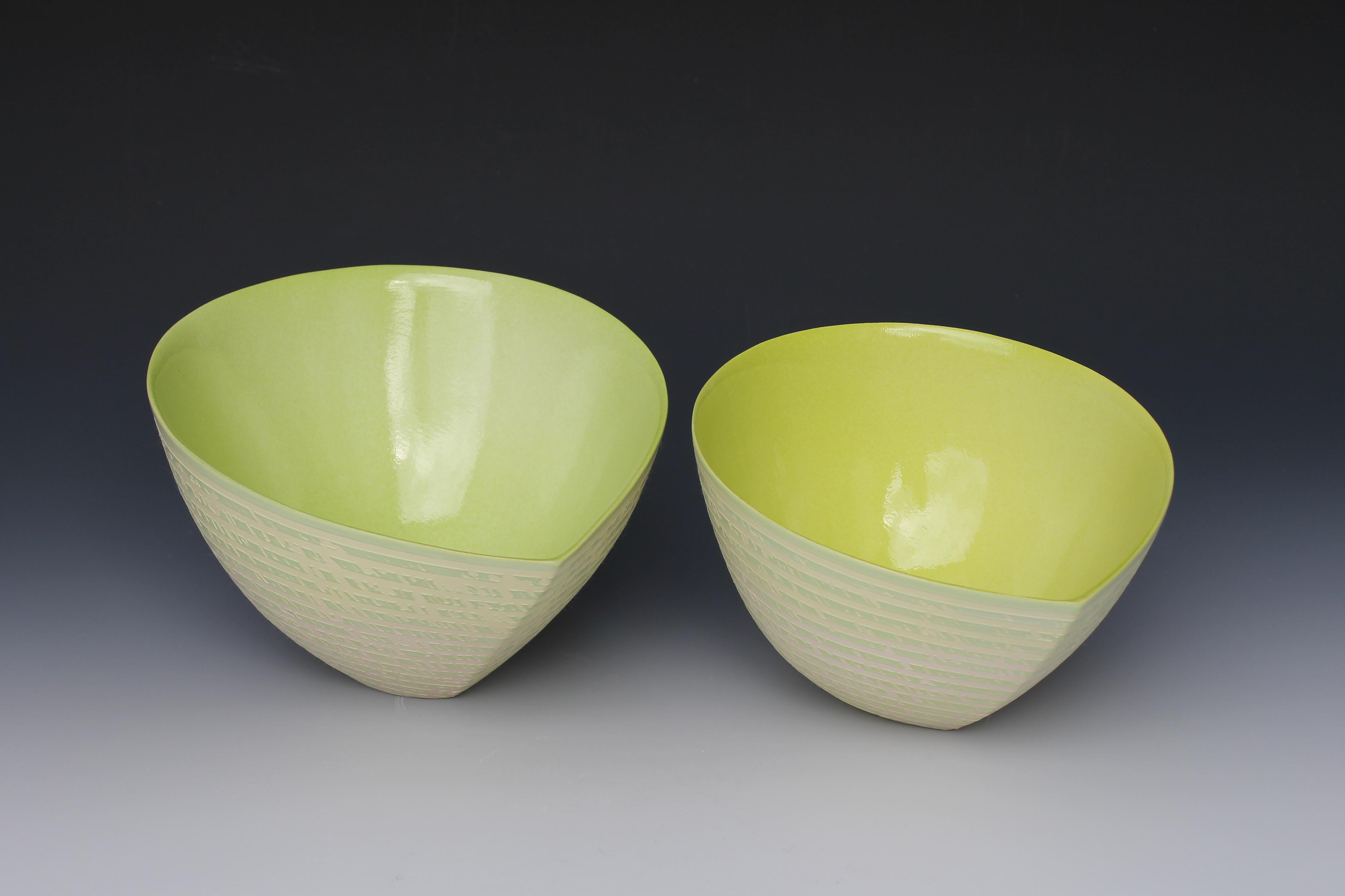 Jenny Morten - Two Green Tilting Bowls