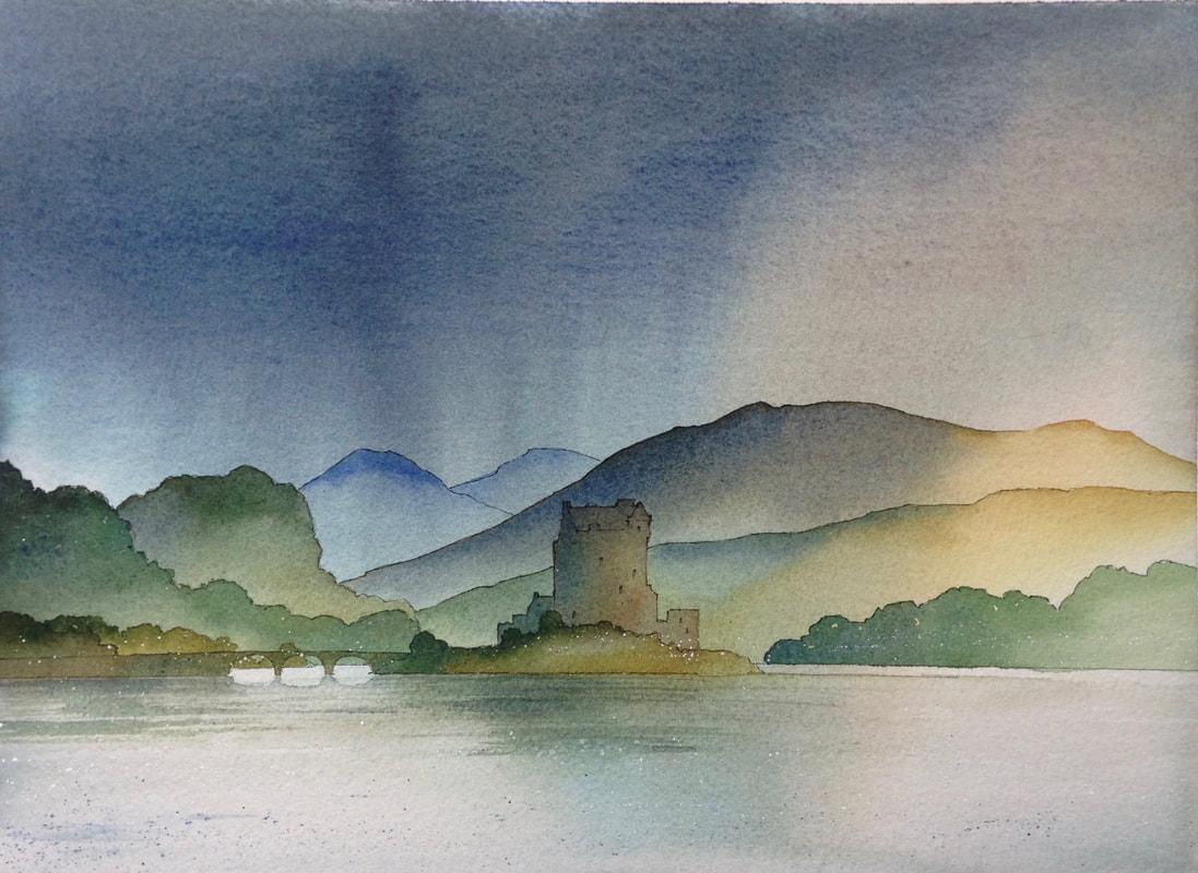 Ian Scott Massie. Eileen Donnan castle 40 x 50cm