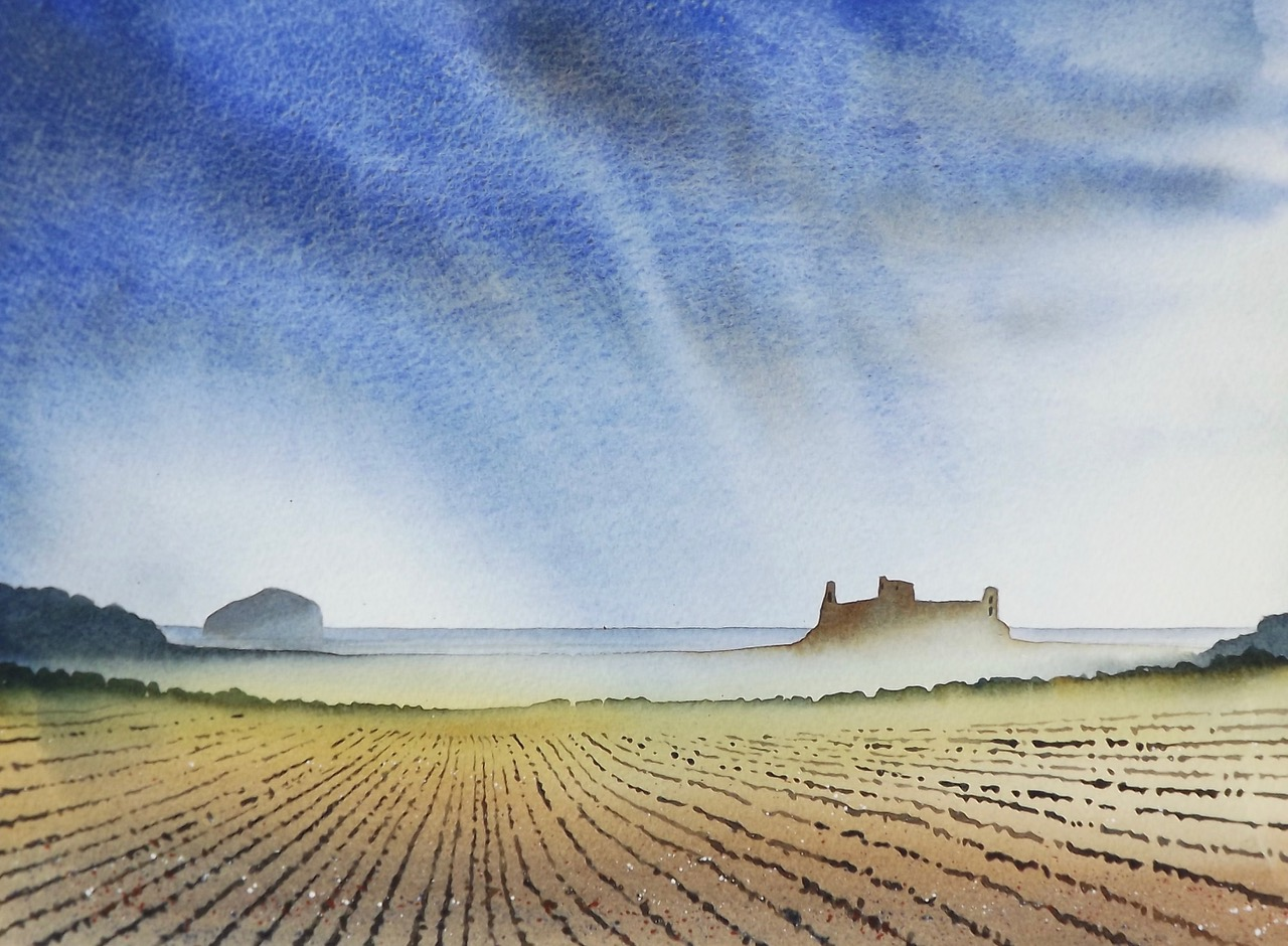 Ian Scott Massie. Tantallon Castle and Bass Rock 40 x 50cm