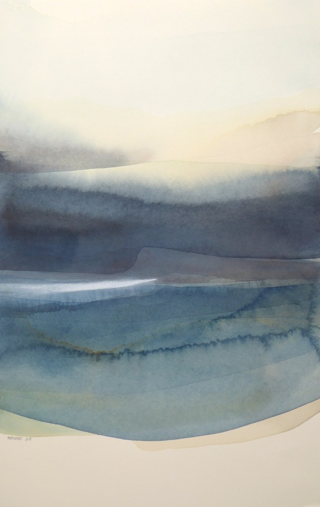 Peter Davis. Sjukni, Watercolour with chalk rubbing on paper 2018, (32x51cm)