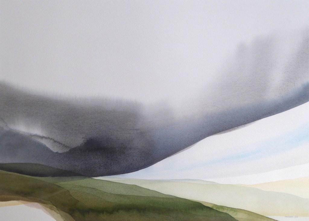 Peter Davis. Summer on Neeans, Watercolour on paper 2018, (70x51cm)