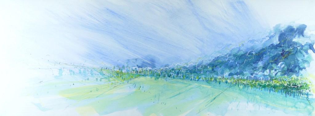 Libby Scott, From Old Kinnaird Church - West, 40 x 80cm