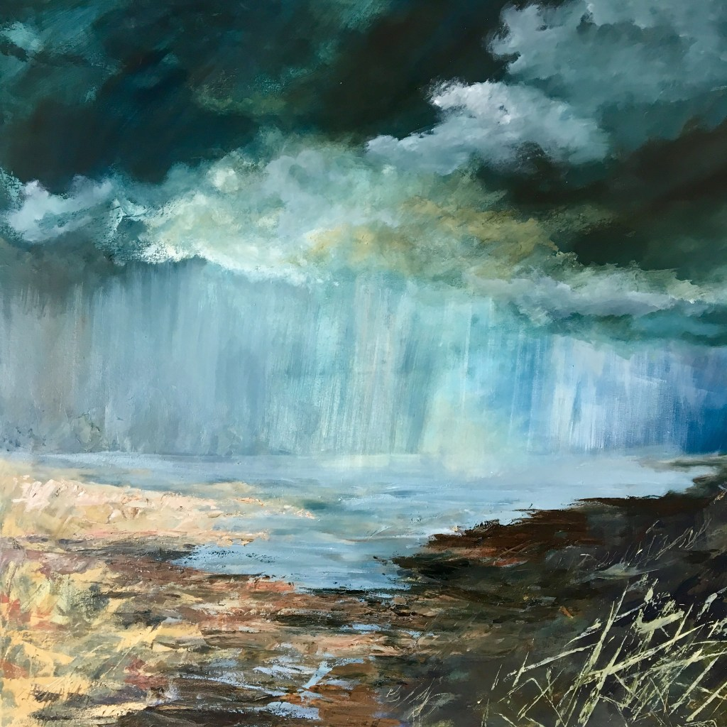 Penny Hunt. Passing Storm 106x106cm oil on canvas framed