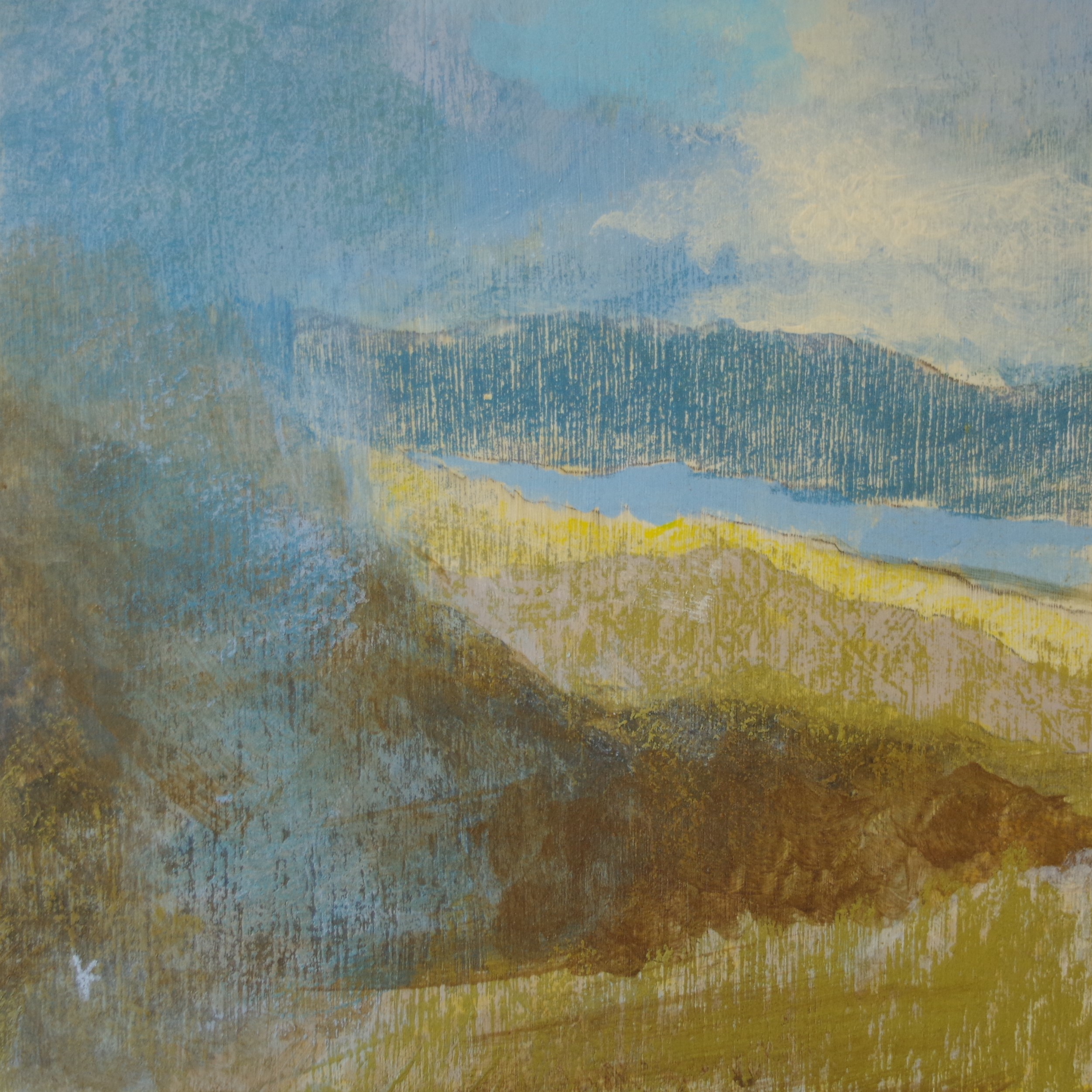 Keith Salmon. 'Loch Tay from the slopes of Ben Lawers', Acrylic & Pastel, 2017, 30 x 30cm