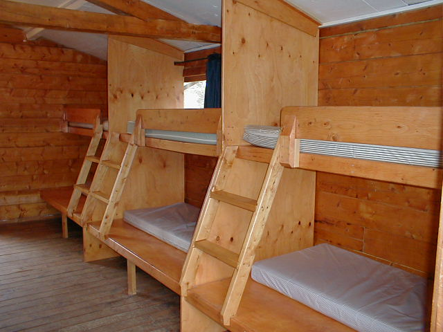 Interior of sleeping cabin birchwood camp for Sleeping cabin plans