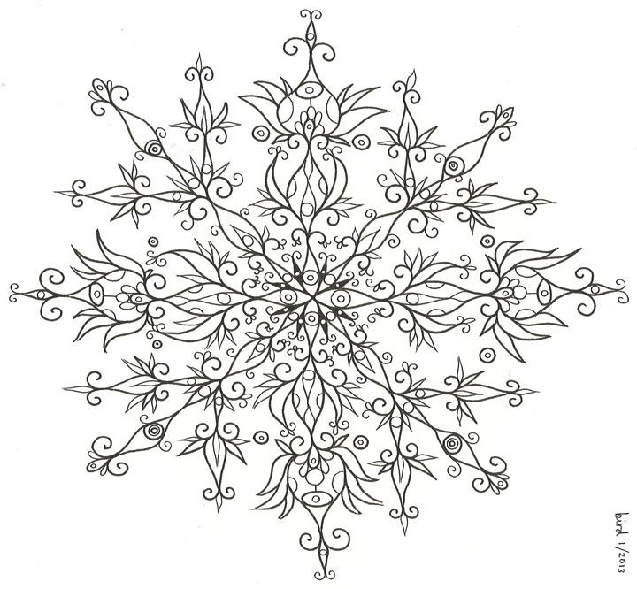 Drawing and final tattoo, Snowflake tattoo, mandala