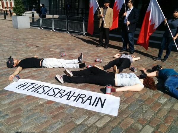 Bahraini activists in London stage a protest outside the Queen Elizabeth II Conference Centre in response to the 'This is Bahrain' conference that has attempted to whitewash the violations of human rights in Bahrain