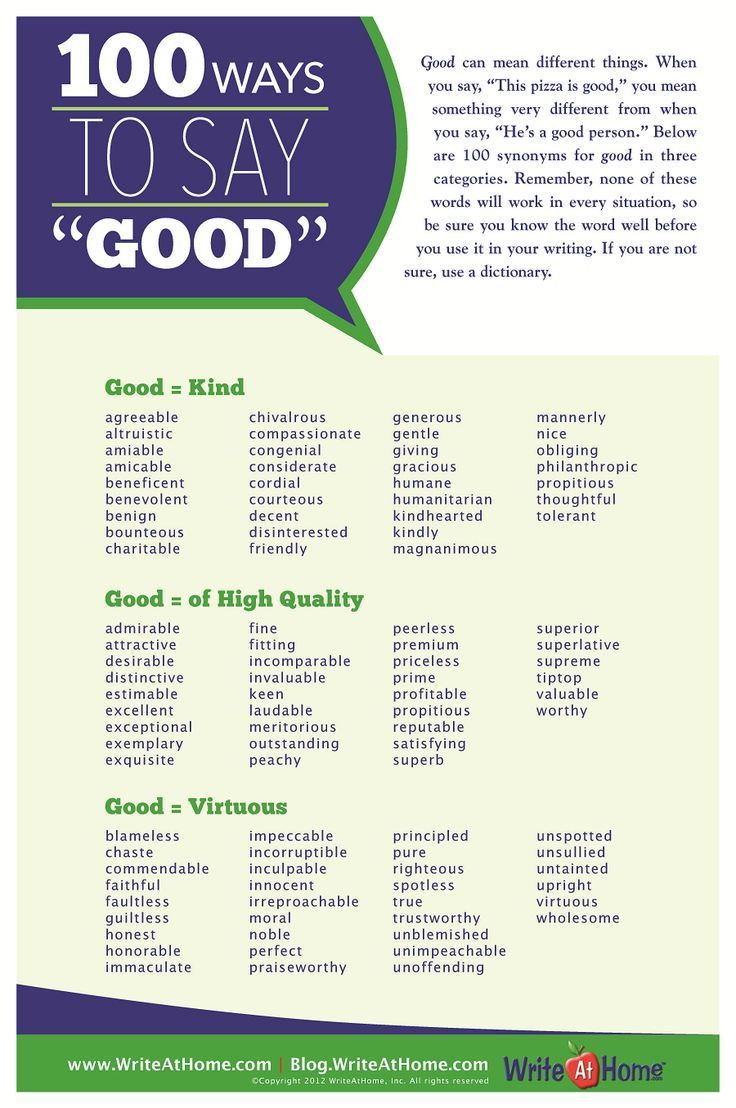 """Fun With Words 100 Ways To Say """"good"""""""