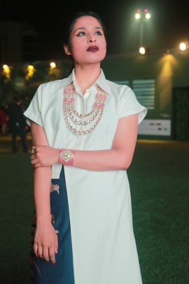 Swati Sharma from The Archattire dressed beautifully with the touch of royalty in Birdhichand necklace designed with enamel work, rubies and polki along with a lovely bracelet with the same stones at Lakme Fashion Week .