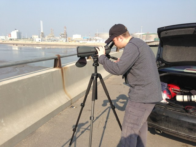 Ben watching GREAT KNOT from the bridge at Nanpu