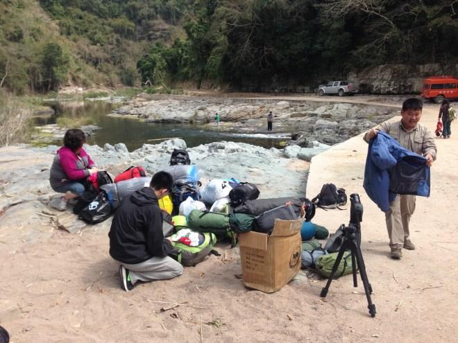 preparing for hike into daoyin