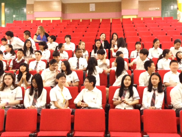 Students at the Canadian International School of Beijing just before the lecture and Q&A