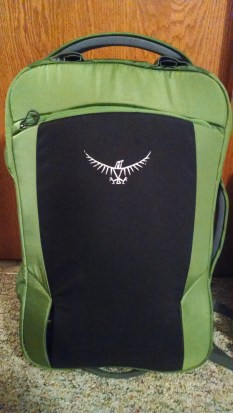 Osprey Porter 46 - shoulder straps and hip belt are stowed away for easy use as a carry-on.