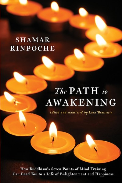 a book cover for The Path to Awakening, showing text and a curving line of candles