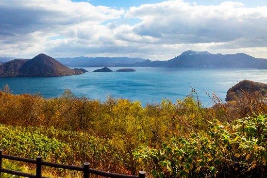 Lake Toya, a crater lake south of Sapporo.
