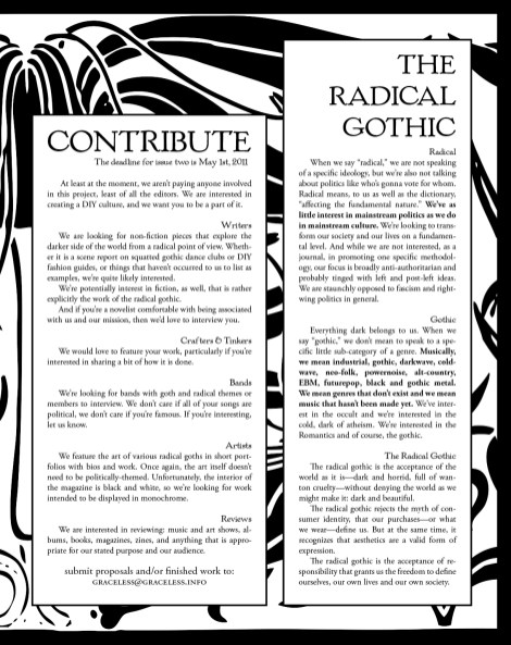 A page from the magazine Graceless