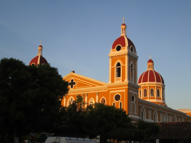 The cathedral in evening light in Granada, Nicaragua