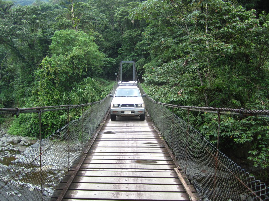 Driving across the suspension bridge on the way to Pocosol