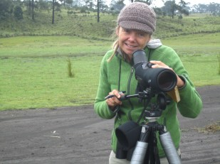 Kathi scoping birds at Milpa Alta in Mexico