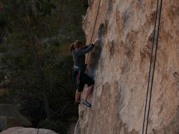 Kathi climbing at Joshua Tree