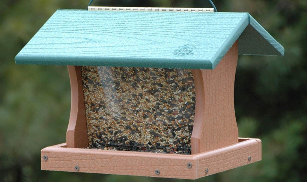 going green bird feeder for backyard gardens