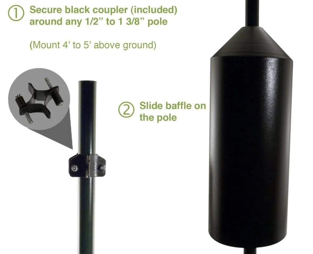cylinder baffles for bird feeder poles