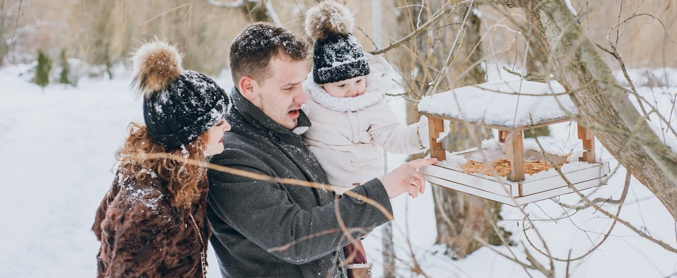 family joyfully feeding the birds