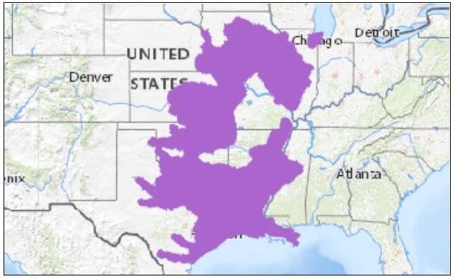 graham's crayfish snake range map