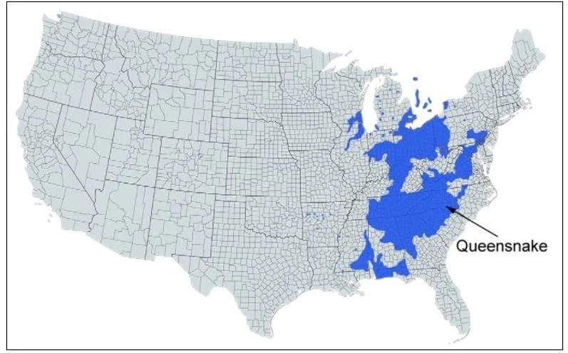 queensnake range map