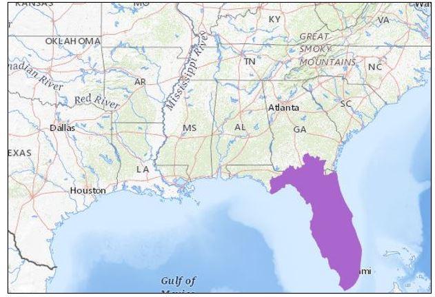 striped crayfish snake range map
