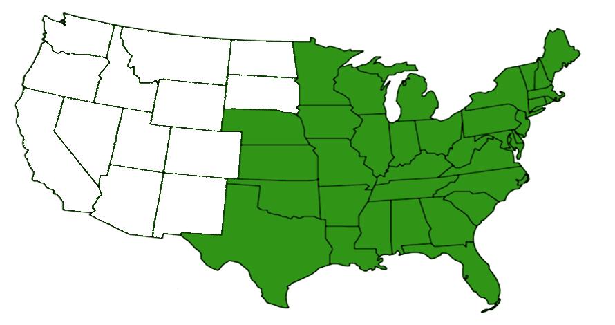 American nursery web range map