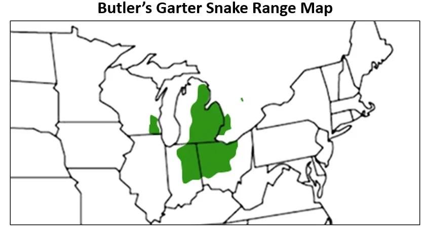 butlers garter snake range map
