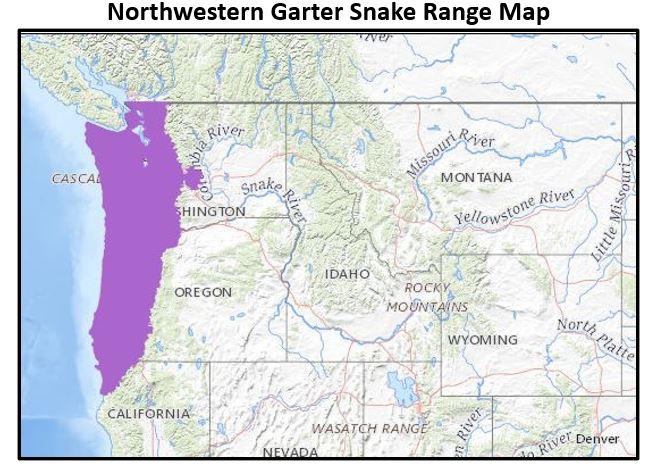 northwestern garter snake range map