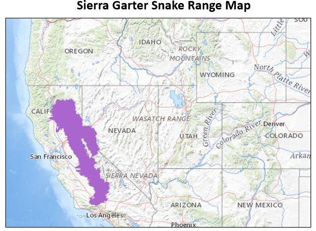 sierra garter snake range map