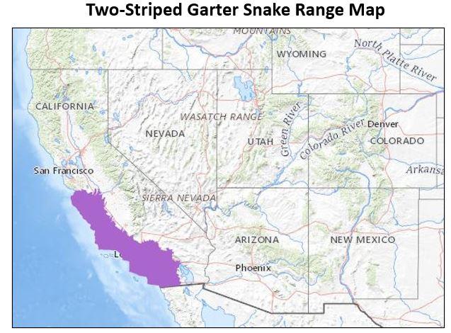 two striped garter snake range map