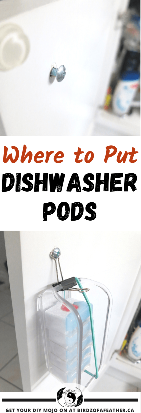 Where to put dishwasher pods can be a challenge. Today we have an easy dishwasher tab dispenser that solves my biggest pet peeves about packaging!  Birdz of a Feather | dishwasher pods | dishwasher pods storage | dishwasher pods diy | dishwasher tabs storage | dishwasher tabs organization | dishwasher pods organization | household hacks | dishwasher detergent storage | dishwasher detergent pod storage | dishwasher tab storage | dishwasher pod storage
