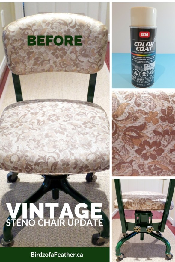 Why go to all the work of reupholstering if there's a quick fix? Floral beige upholstery is not our thing, so we neutralized the pattern with a flexible paint coating made especially for vinyl. Birdz of a Feather | Vintage Steno Chair Update | Steno Chair | Retro Chair | Painted Furniture | Painted Chairs | Retro Steno Chair | Office Chair | Painted Vintage Office Chair | Upcyled Chair #paintedfurniture #paintedchairs #officechair #paint #diy #upcycledchair #upcycling