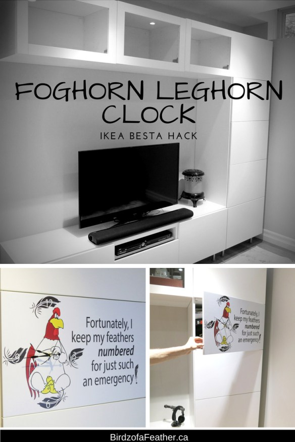 Build a Foghorn Leghorn clock right into an Ikea Besta cabinet | Birdz of a Feather | foghorn leghorn | foghorn leghorn quotes | foghorn leghorn funny | Ikea hack | Ikea | clocks | clocks diy | upcycle | upcycling | upcycling ideas | upcycled | repurposed | repurposed items | birdzofafeather.ca #upcycle #upcycling #repurposed #ikea #ikeahack