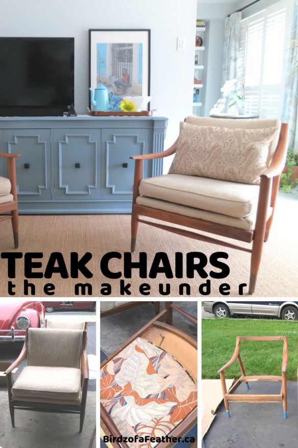 We thought these teak chairs were beautiful as is so instead of a chair makeover, we gave them a 'makeunder'! Not every upcycle needs a complete overhaul. Birdz of a Feather | chair makeover | chair makeover diy | chair makeover ideas | chair makeover wooden | teak chair | vintage teak chairs | teak chair vintage | strip wood chairs | vintage chair decor | vintage chairs | vintage chair makeover