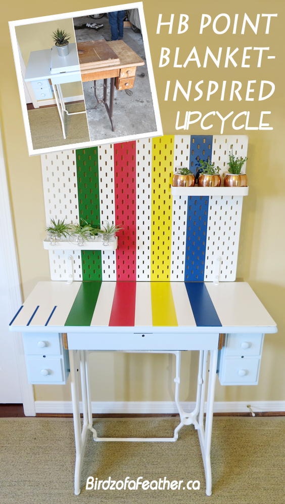 Upcycle a Singer sewing machine table into a Hudson's Bay point blanket inspired desk. Skadis pegboard | Birdz of a Feather | Singer sewing machine table | Upcycled furniture | Painted furniture | Point blanket decor | Hudsons Bay point blanket | Point blanket stripes | Ikea Ideas | Ikea DIY | Ikea office hack | Ikea office decor | #pointblanket #paintedfurniture #vintagefurniture #Singersewingmachine #sewingmachinetable #Ikeahack #Skadis #pegboard | BirdzofaFeather.ca