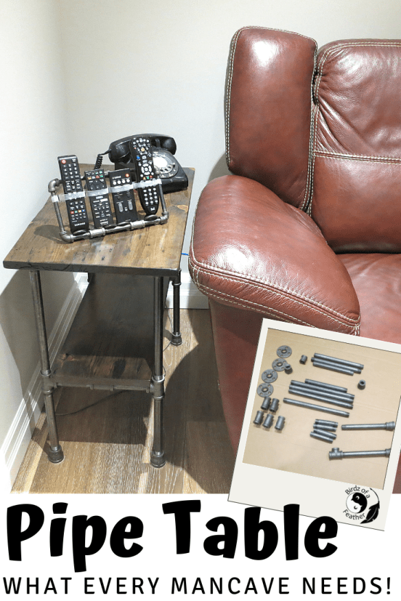 What every man cave needs is a pipe table, especially when the space is limited. Because you know he's gonna need somewhere to put his snacks! Birdz of a Feather | pipe table | man cave | man cave ideas | man cave basement | pipe table base | pipe tables diy #birdzofafeather.ca #pipetable #diyhomedecor #diy #diymojo