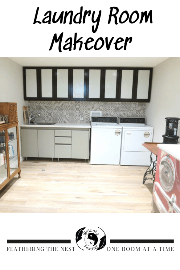 Transform a laundry room by customizing Ikea Cabinets. Birdz of a Feather | laundry room makeover