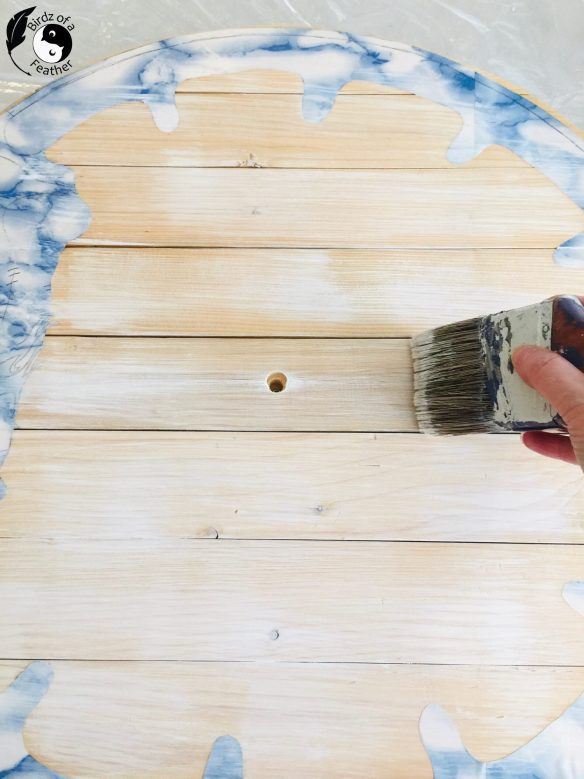 Dry brush white paint onto centre of pallet wood for Wooden Wall Art DIY