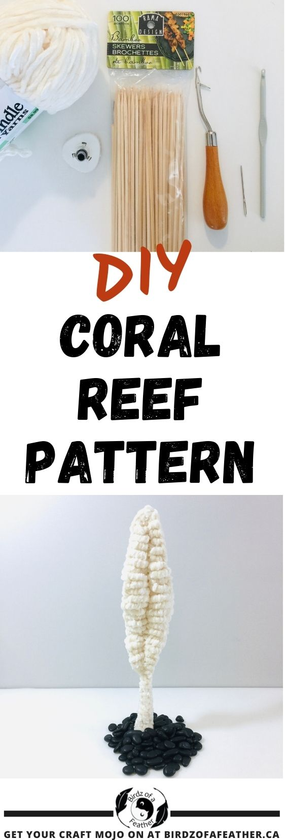 Pinable image for free crochet coral reef pattern showing materials for sea pen and finished crochet coral