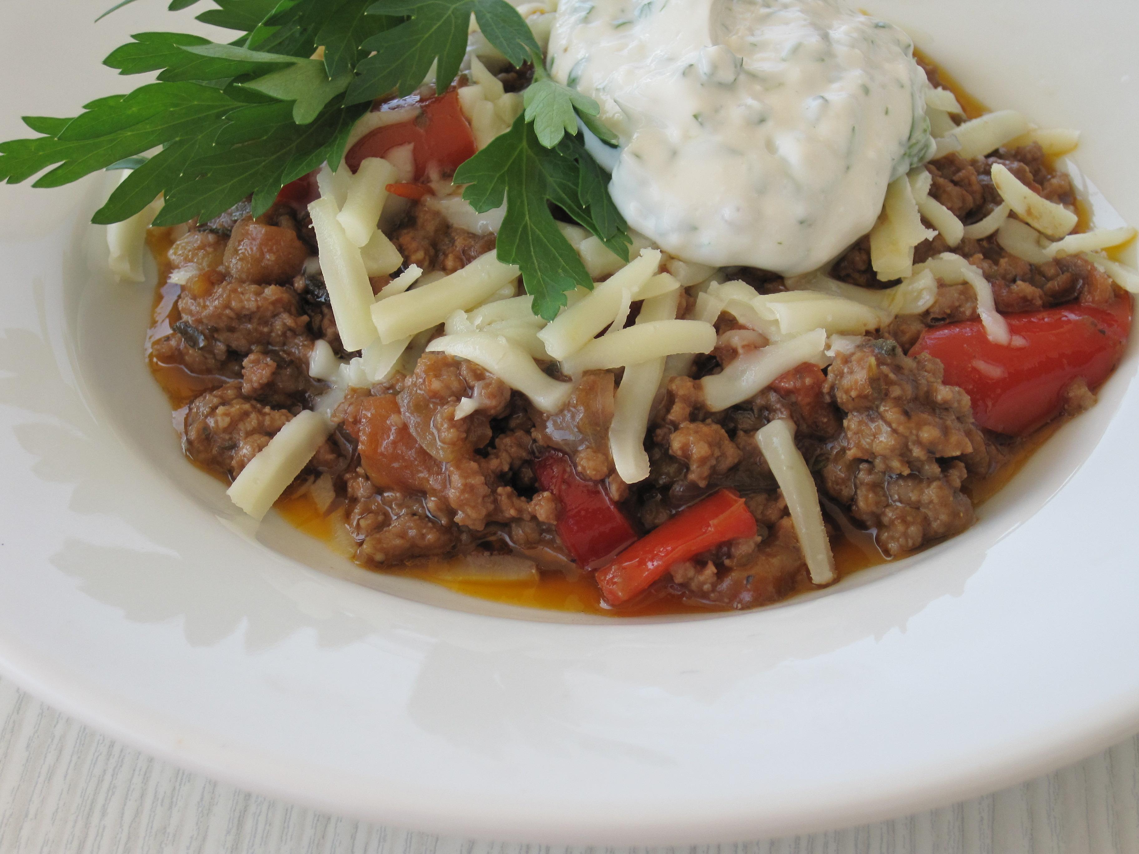 Lammfärs i gryta med Tomater, Aubergine och Paprika
