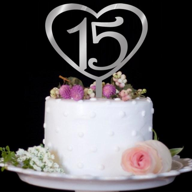 15 Birthday Cake Nicexmas Number 15 Cake Topper Love Heart Shape Acrylic Cupcake