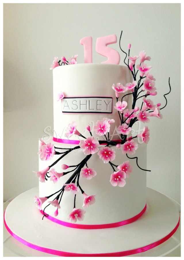 15 Birthday Cake Sweet Art Cakes Milbre Moments Ashleys Cherry Blossom 15th